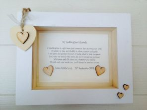 Shabby Personalised Chic Box Frame Gift Christening God Daughter Goddaughter